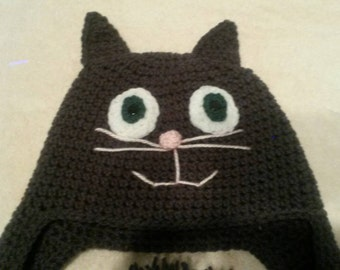 Hand Crocheted Acrylic Child Cat Hat with braids