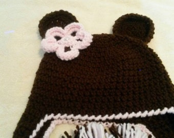 BEAR Hat with pink flower
