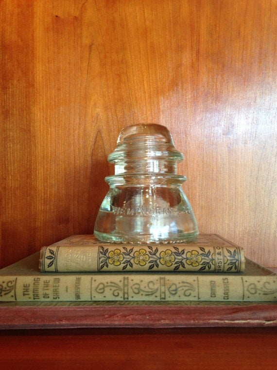 Vintage glass insulator for lighting or candle holder for Insulator candle holder