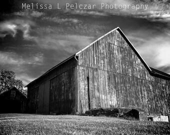 Black and White Photograph, Old Country Barn Photograph, Farm, Pennsylvania, Rustic Decor 18 x 12 B&W (1 inch border - total 20 x 14)