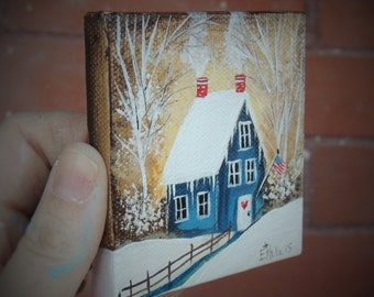 Folk Art-Americana Winter- Original Miniature Canvas Painting-Mini Canvas Collection by Estelle Grengs