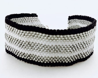 Silver and Black Bead Bracelet; Striped Peyote Stitch Bracelet; Handmade Peyote Stitch Bracelet; Striped Beaded Bracelet