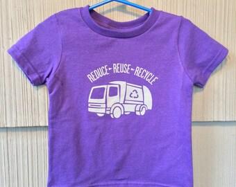 Reduce Reuse Recycle Garbage Truck Tshirt in Purple