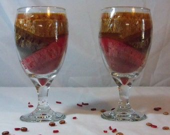 Multi-Colored Palm Wax Candle, Scented Grandma's Kitchen, Red, Brown and Gold Container Candles