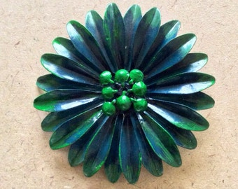 Large Retro Forest Green and Blue Enamel Flower Brooch SALE