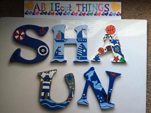 Nautical Boys Monogram Letters, Boys Sports Letters, Boys Wall Decor, Monogram Letters, Cute Monogram Letters, Wood Letters, Boys Room Decor