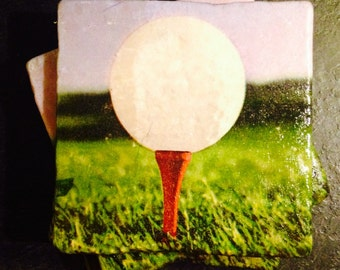 Golf Coasters ~  Set of 4 Stone Coasters ~Coasters ~ Natural Stone Tile Coasters ~ Golf Coasters ~ Stone Tile