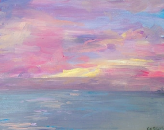 Sea Breeze 15x20 original painting of pink and purple Florida sunset