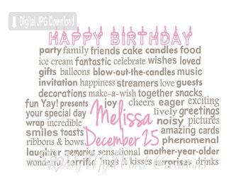 Birthday Cake Art, Birthday Gift, Birthday Cake Word Art, Personalized Word Art Typography, PRINTABLE DIGITAL FILE