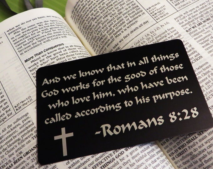 Bible Scripture Engraved Wallet Insert, Personalized and Custom, Wallet Card,  Etched on Anodized Aluminum