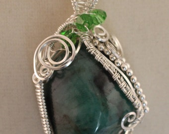 Sterling Silver Wire Wrapped Natural Emerald