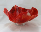 Big and Deep Stunning Red Wavy Glass Bowl with a Foot