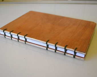 Wooden notebook RECYCLED WOOD coptic bound journal, sketchbook A5 more colours