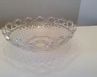 Vintage Imperial Glass Open Lace Diamond Design Clear Glass  Bowl or Centerpiece
