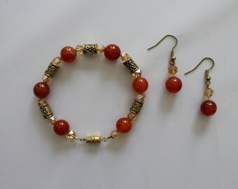 Amber and Gold Bracelet and Earring Set