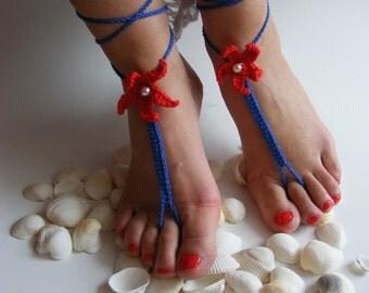 Crochet Barefoot Sandals, Beach Wedding Feet Accessory