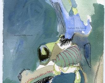 abstract mixed media painting biomorph #1