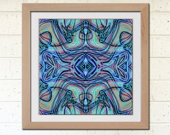 Blue abstract art print, Printable DIY Home Decor, 7.5 inch square, Instant Download, Printable Art Image, Woodblock Style
