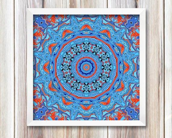 Blue Print Wall Decor : Blue mandala print image wall decor printable art