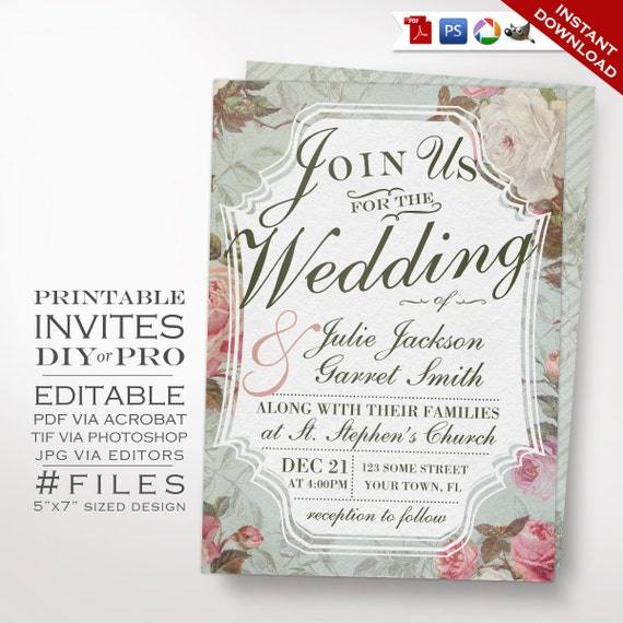 Wedding Invitations Rose: Wedding Invitation Template Vintage Rose Wedding Invitation