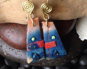 Textile Earrings Handpainted Ombre Blue Beaded