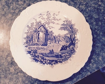 Blue English Abbey Plate