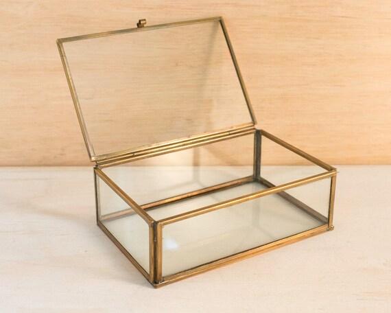 verre et laiton trinket box bo te bijoux verre verre et. Black Bedroom Furniture Sets. Home Design Ideas