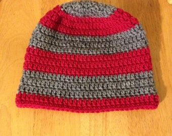 Gray and cherry red beanie hat for men and ladies