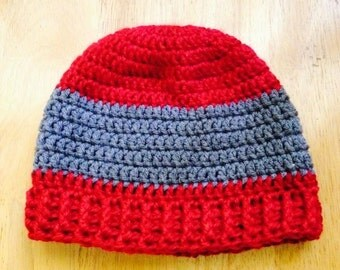 Red and gray hat for men, women and teens