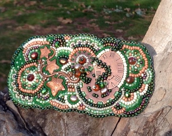 Green and Copper Bead Embroidered Neo-Victorian Steampunk Style Hair Clip