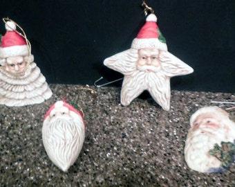 4 Bisque Santa Ornaments 1986