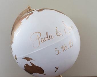 Wedding globe guest book | hand painted globe | guest book alternative