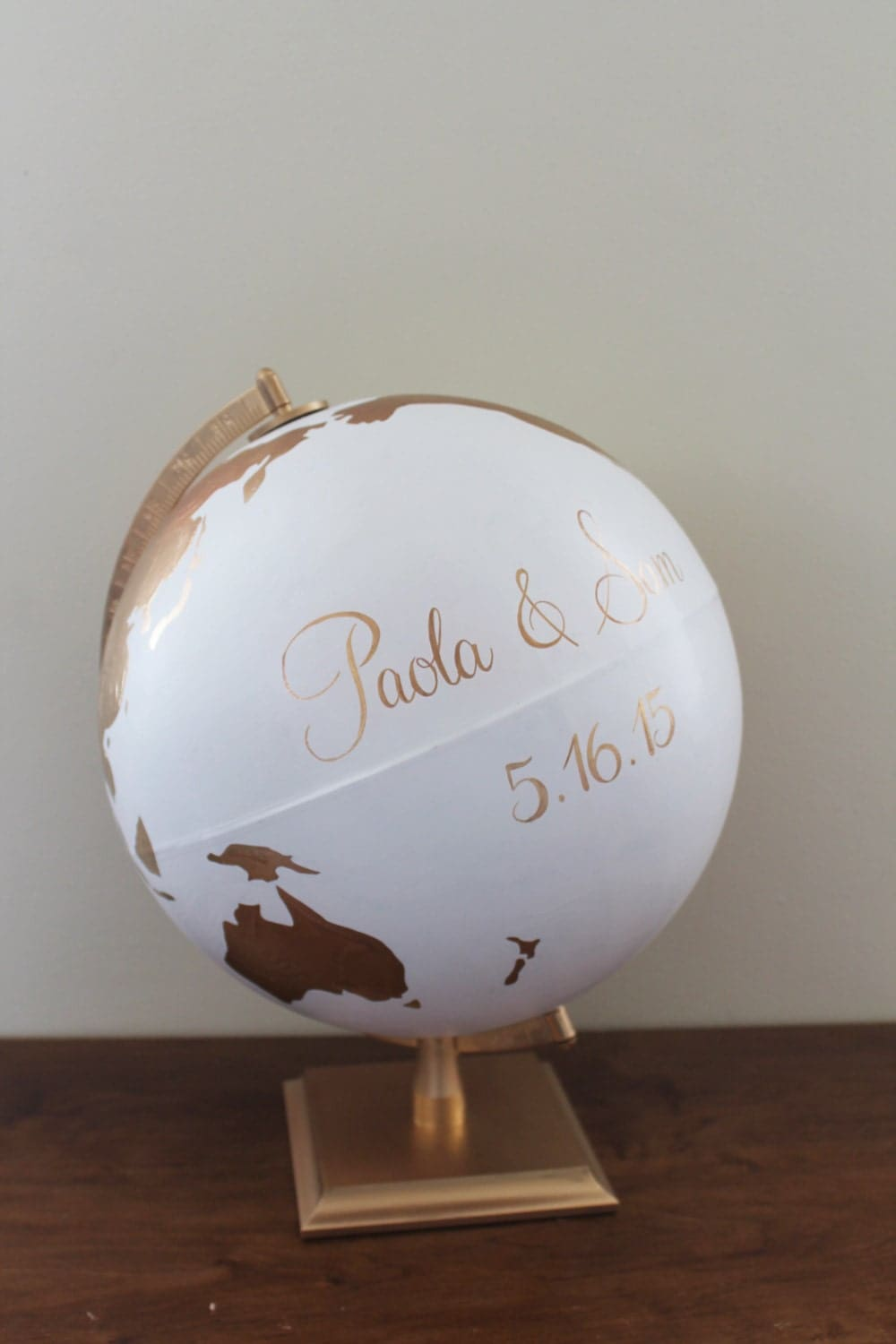 wedding globe guest book hand painted globe guest book. Black Bedroom Furniture Sets. Home Design Ideas