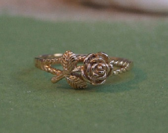 Rose Flower Branch Ring, 14K Yellow Gold Plated Ring, Floral Ring