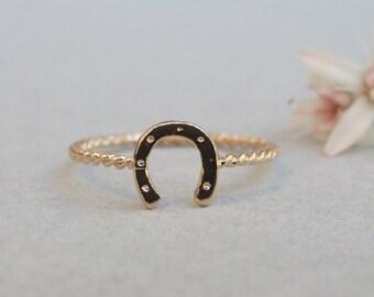 Horseshoe Ring, 14K Gold Plated Ring