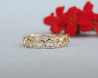 Linked Hearts Ring, 14K Gold Plated Ring