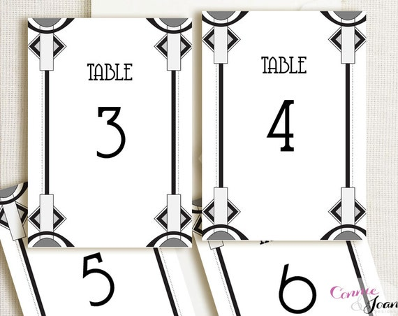 art deco printable editable table number by connieandjoan on etsy. Black Bedroom Furniture Sets. Home Design Ideas