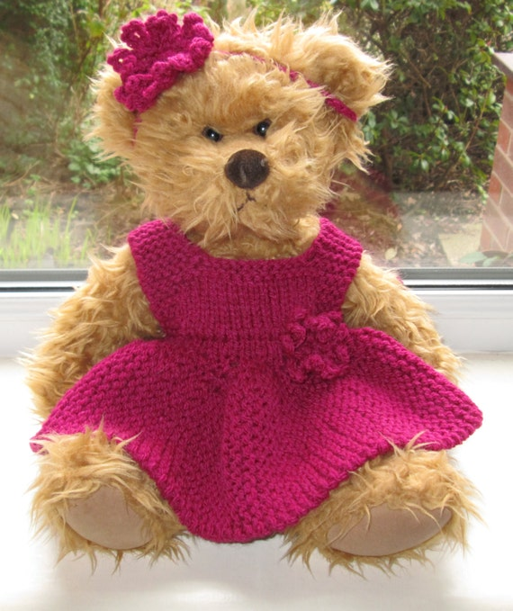 Knitting Patterns For Teddy Bear Outfits : Teddy Bear Clothes Hand Knitted 2 Piece Outfit Cerise Dress