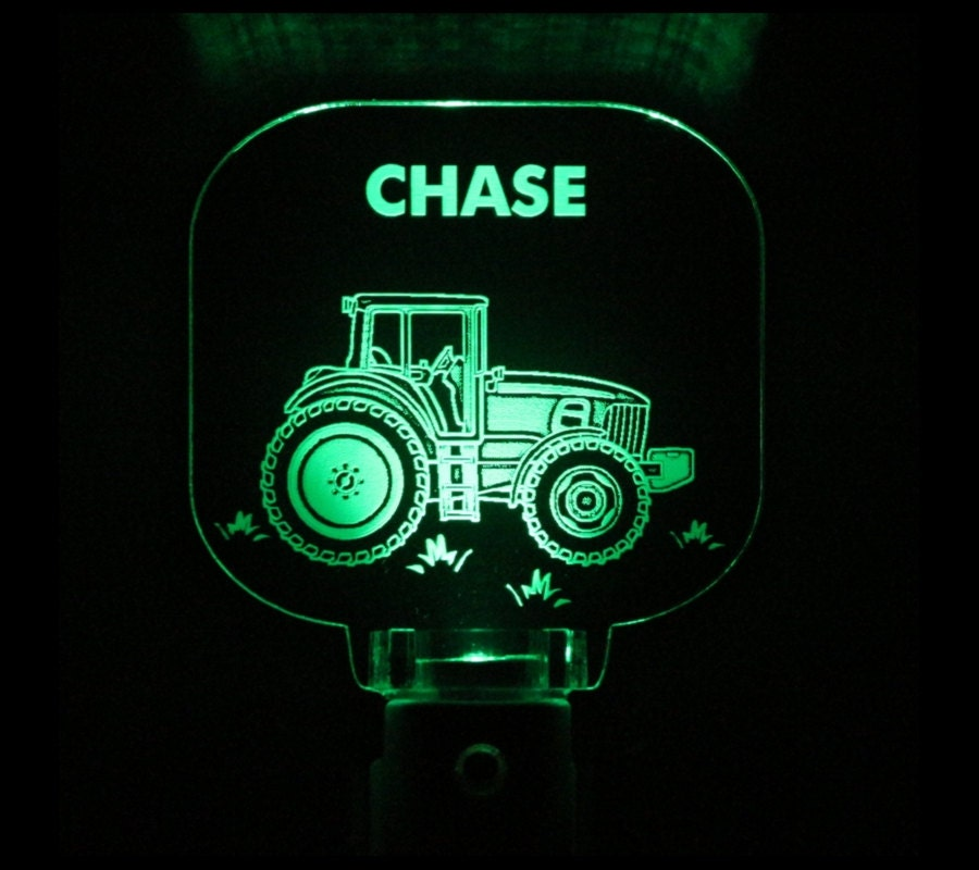 Tractor Night Light Personalized Lids Gift Choose Color
