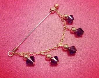 Swarovski Crystal Hijab Pin / Brooch / Dangle Pin / Assorted colors