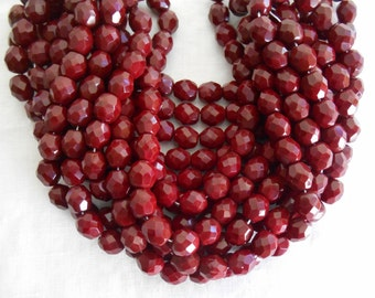 25 8mm Czech Opaque Blood Red beads , deep red faceted, round, firepolished glass beads C42125