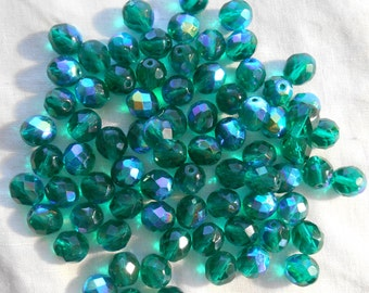 25 8mm Teal Blue Green AB beads, faceted round firepolished glass beads C2625