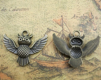 10pcs 24x30mm Owl Charms Handmade Jewelry Pendants Accessories A