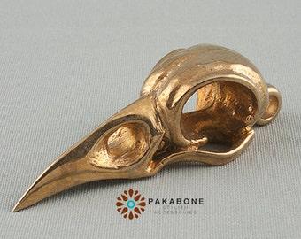 Raven Skull Pendant Amulet Solid Bronze #499