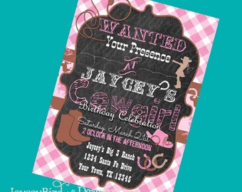Western Cowgirl Birthday Invitation Printable Invite Pink Wanted