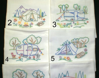 Happy Camper Single Dish Towels (Mix N Match Available) Embroidered