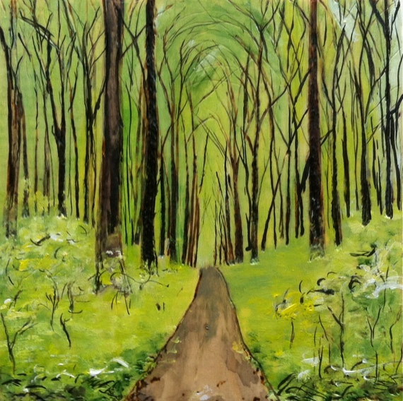 Wood burning and acrylic green forest painting by for Painting a forest in acrylics