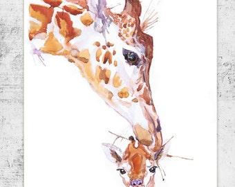 Giraffe Art Watercolor Nursery Decor Baby Painting Wildlife Wall art Animal Print Mother and baby Mom Gift Children Watercolour Illustration