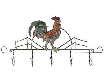Rooster in the Barn Yard with Hooks Wall Decoration