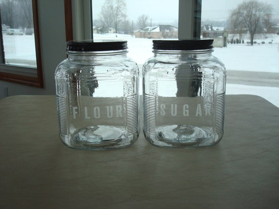 Reserved Item Set Of 2 Etched Glass Kitchen Canisters Sugar